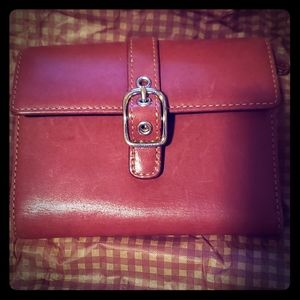 Darling Red Leather Genuine Coach Wallet